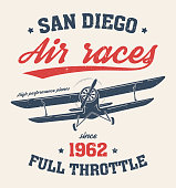 San Diego t-shirt design, printl with old airplane