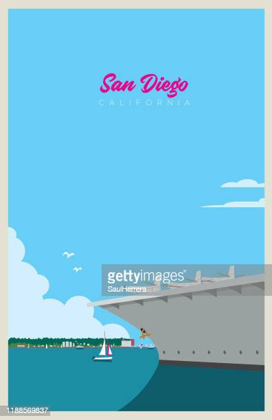 san diego - passenger craft stock illustrations