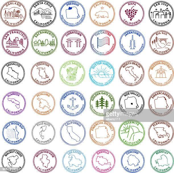 san francisco bay area related graphic stamps - treasure island california stock illustrations