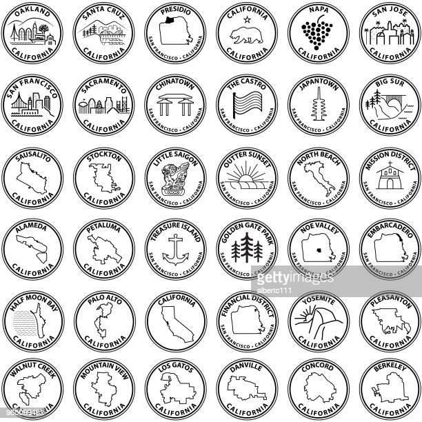 san francisco bay area related graphics - treasure island california stock illustrations