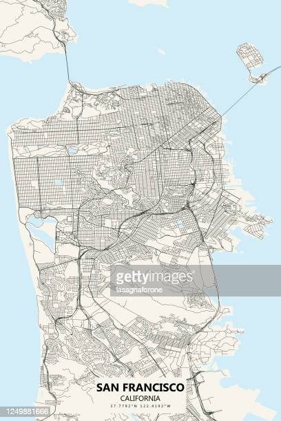 san francisco, california vector map - san francisco california stock illustrations