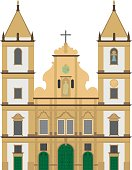 San Francisco Church, Salvador de Bahia, Brazil Vector illustration.