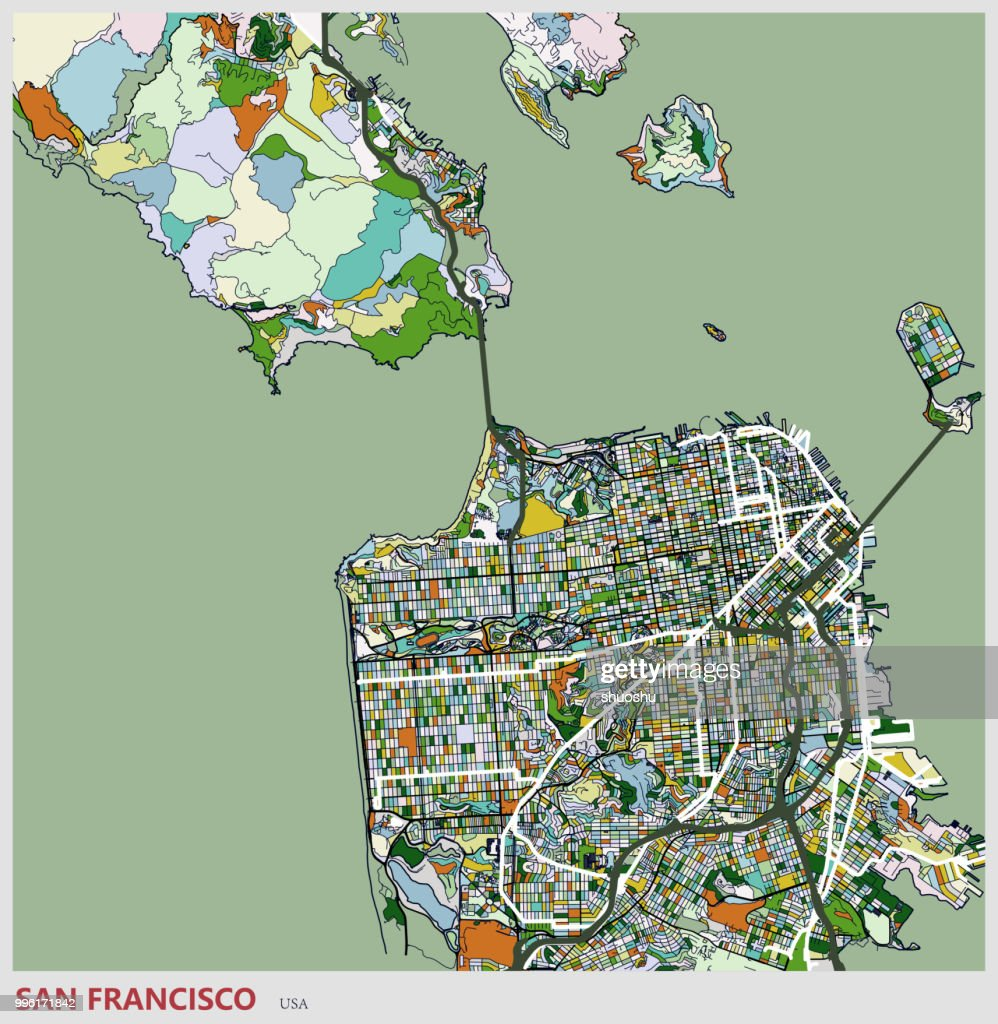 San Francisco City Art Illustration Map Vector Art Getty Images