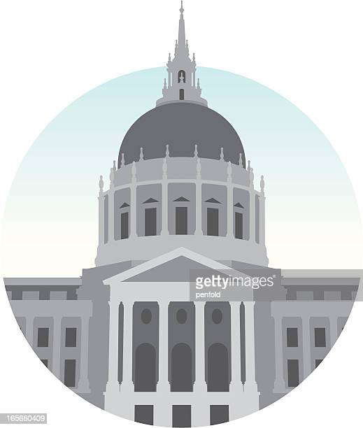 san francisco city hall - architectural dome stock illustrations, clip art, cartoons, & icons