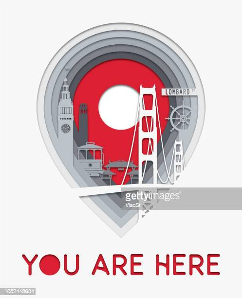 San Francisco City Map Location Icon Layers Paper Cut Illustration