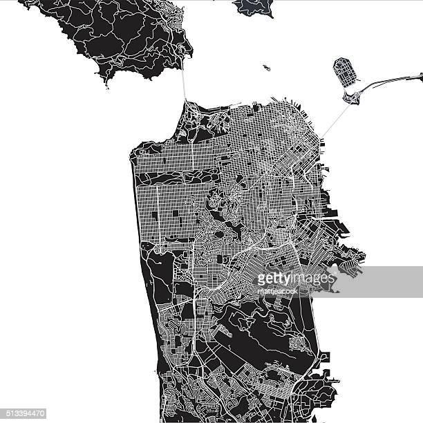 san francisco city map - san francisco california stock illustrations