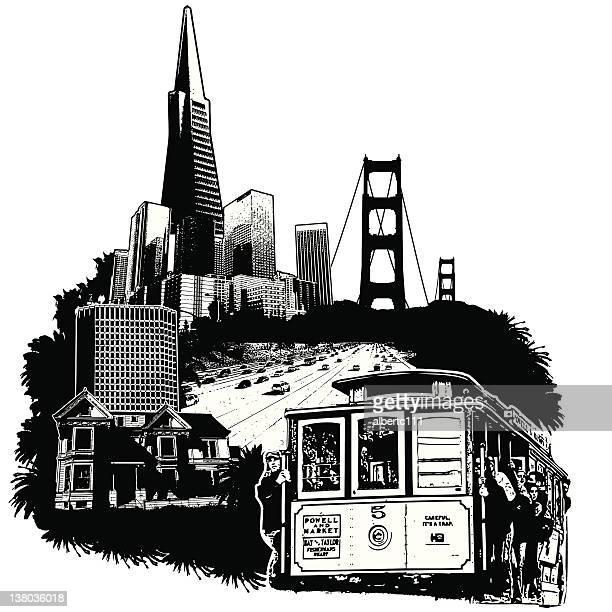 san francisco skyline - amerikanische kontinente und regionen stock-grafiken, -clipart, -cartoons und -symbole