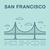 San Francisco Golden Gate bridge illustration