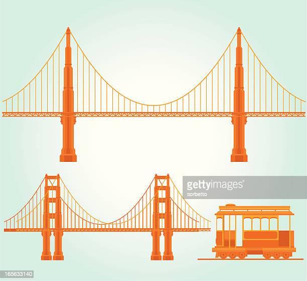 ilustraciones, imágenes clip art, dibujos animados e iconos de stock de atracción turística de san francisco - puente colgante