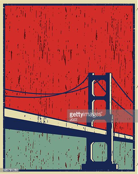 san francisco poster - steel cable stock illustrations
