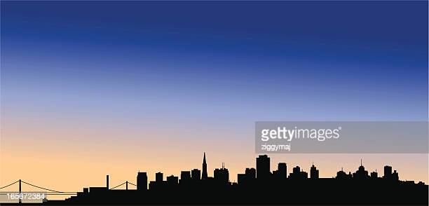 san francisco skyline at dusk - san francisco california stock illustrations