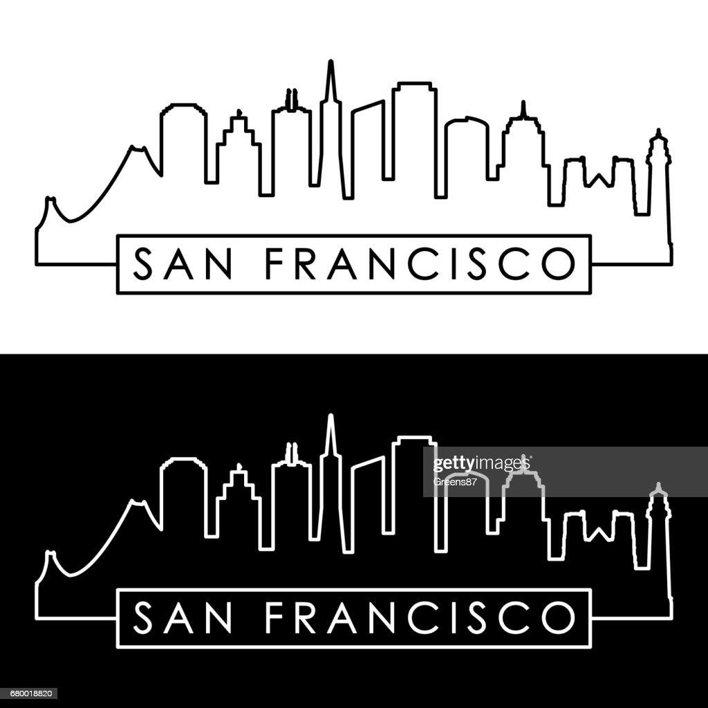 San Francisco skyline. Linear style. Editable vector file.