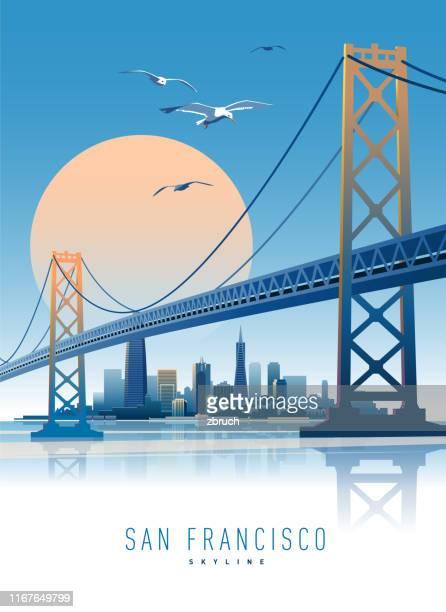ilustraciones, imágenes clip art, dibujos animados e iconos de stock de horizonte de san francisco - puente colgante