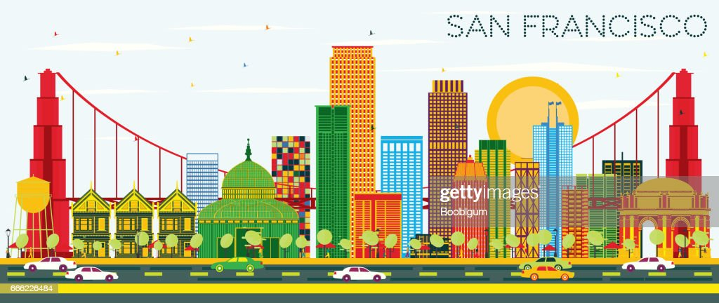 San Francisco Skyline with Color Buildings and Blue Sky.