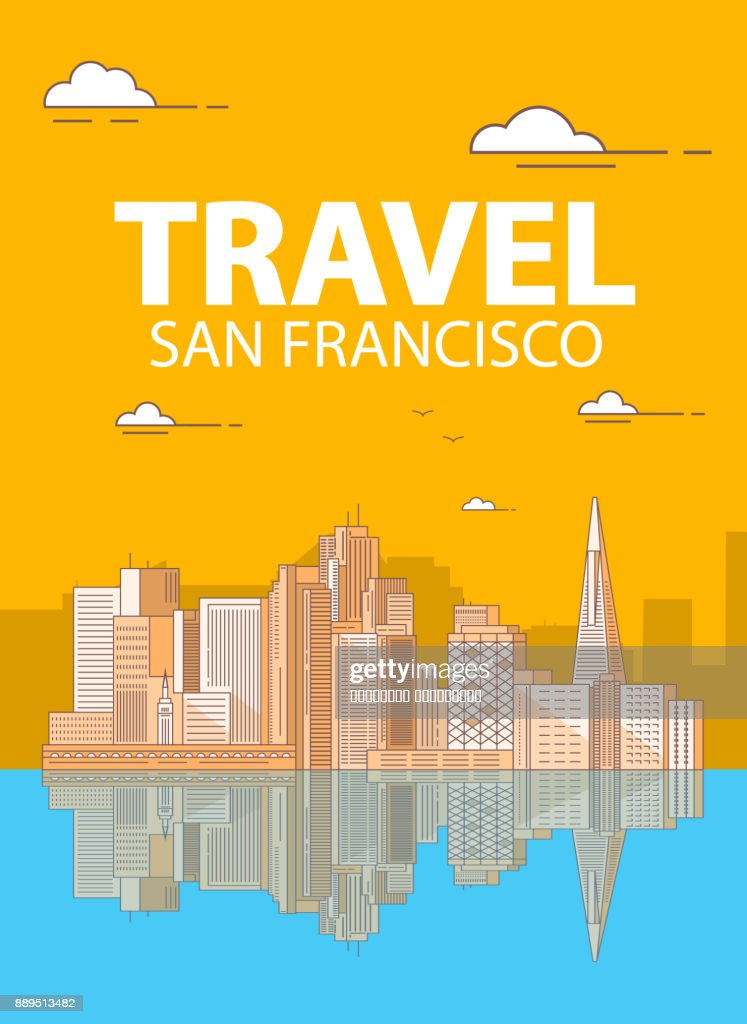 San Francisco the downtown with buildings skyscrapers.Coastal city. A poster for travel companies and tourists. Urban inhabited multistorey buildings from glass.
