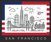 San Francisco, USA. A view of the city attractions. Illustration