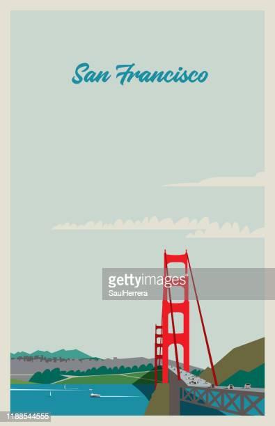 ilustraciones, imágenes clip art, dibujos animados e iconos de stock de san francisco - puente colgante