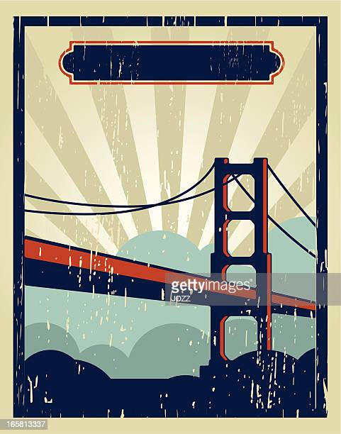 san francisco vintage poster - steel cable stock illustrations