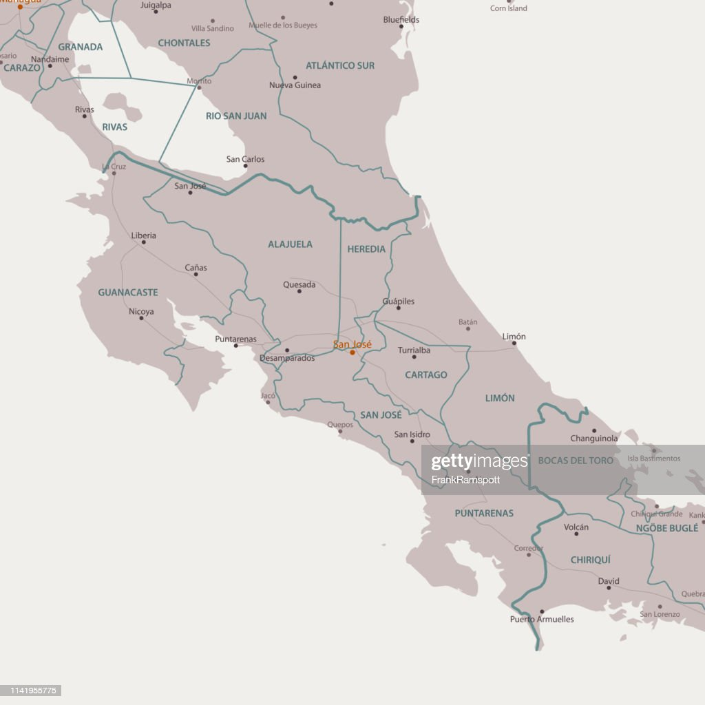 San Jose Costa Rica Area Vector Map Stock Illustration - Getty Images