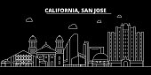 San Jose silhouette skyline. USA - San Jose vector city, american linear architecture, buildings. San Jose travel illustration, outline landmarks. USA flat icon, american line banner