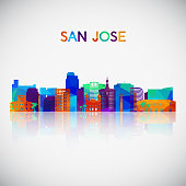 San Jose skyline silhouette in colorful geometric style. Symbol for your design. Vector illustration.