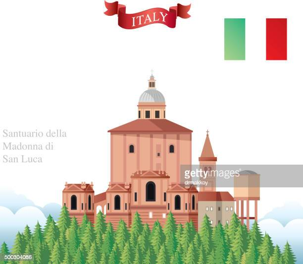 san luca bologna - bell tower tower stock illustrations
