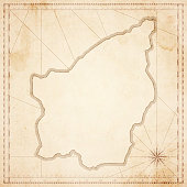 San Marino map in retro vintage style - old textured paper