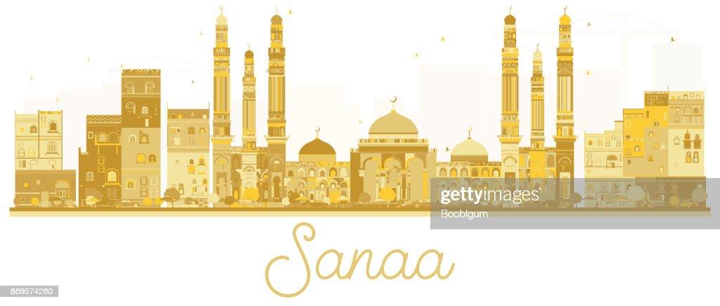 Sanaa City skyline golden silhouette.