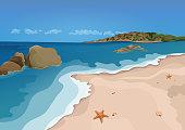 Sand beach and sea, vector
