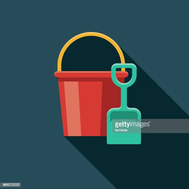 sand bucket & shovel flat design summer icon with side shadow - bucket stock illustrations, clip art, cartoons, & icons