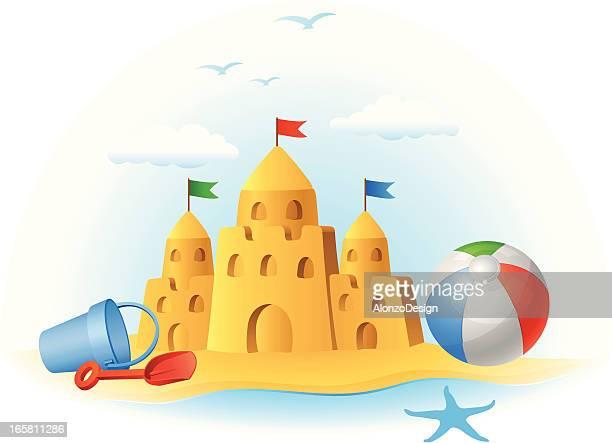 ilustraciones, imágenes clip art, dibujos animados e iconos de stock de castillo de arena y juguetes - castillo estructura de edificio