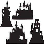 Sand Castle Silhouettes