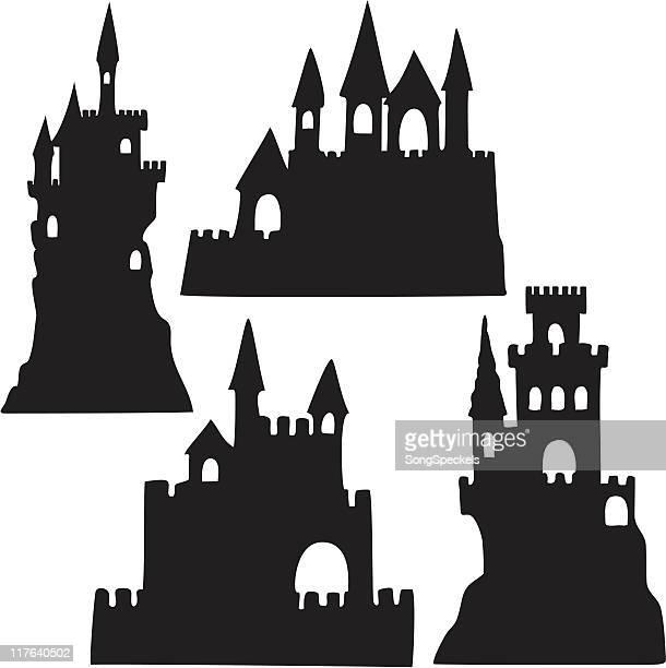 ilustrações, clipart, desenhos animados e ícones de silhuetas de castelo de areia - castelo
