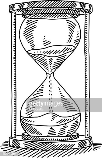 Line Drawing Clock : Sand clock drawing vector art getty images