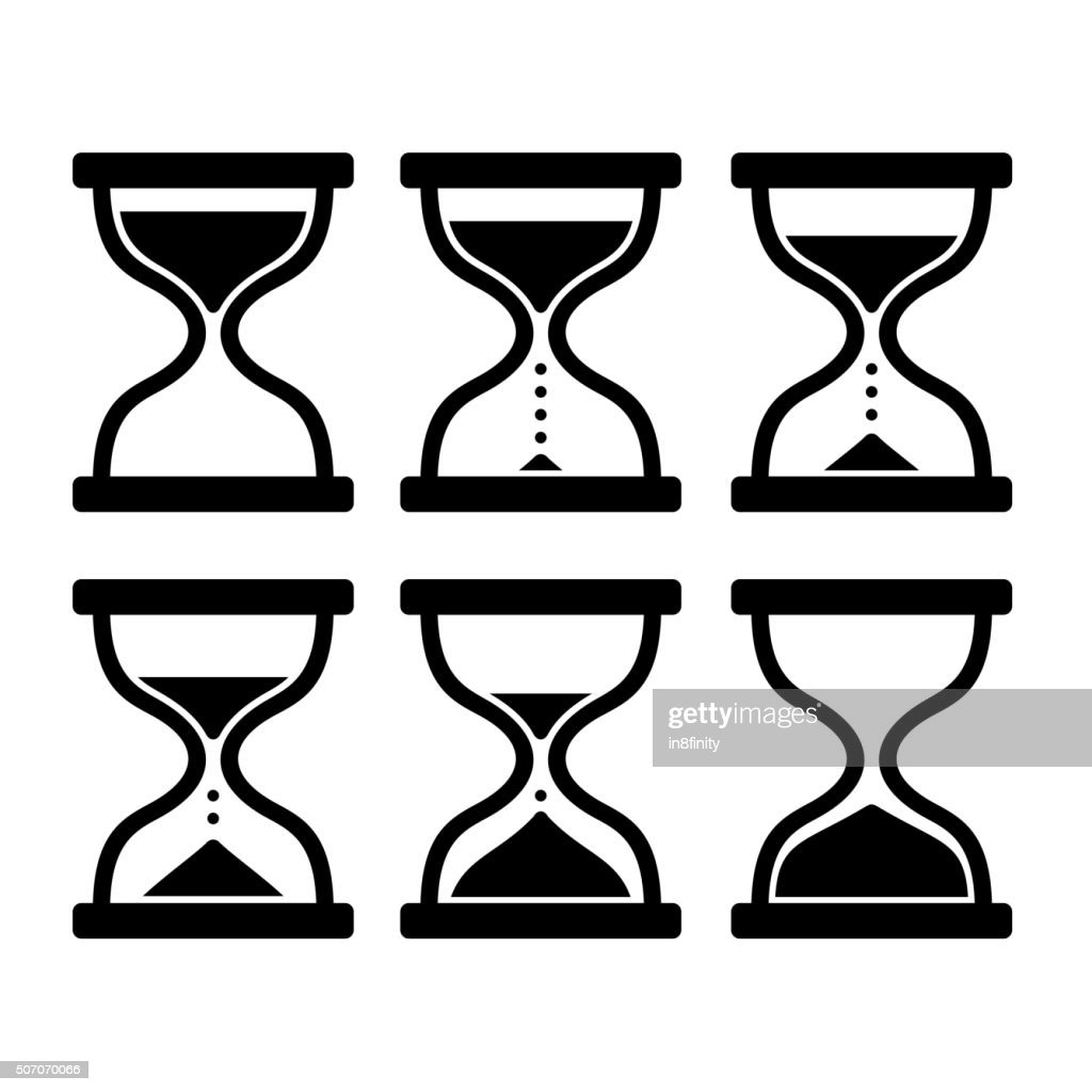Sand Clock Set. Glass Timer on White Background. Vector