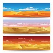 Sand dunes banners set