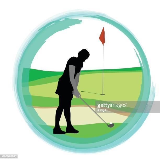 sand pit golf stroke - sand trap stock illustrations, clip art, cartoons, & icons