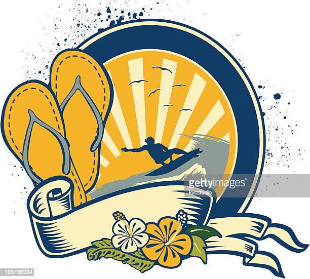 sandals flowered emblem - sea of japan or east sea stock illustrations, clip art, cartoons, & icons