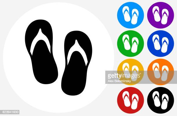 sandals icon on flat color circle buttons - sandal stock illustrations, clip art, cartoons, & icons