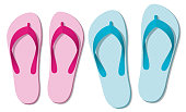 Sandals or flip flops - two pairs of summer fun footwear for man and woman - symbolic for love couple on beach holiday, honeymoon or romantic recreation - isolated vector illustration on white background.