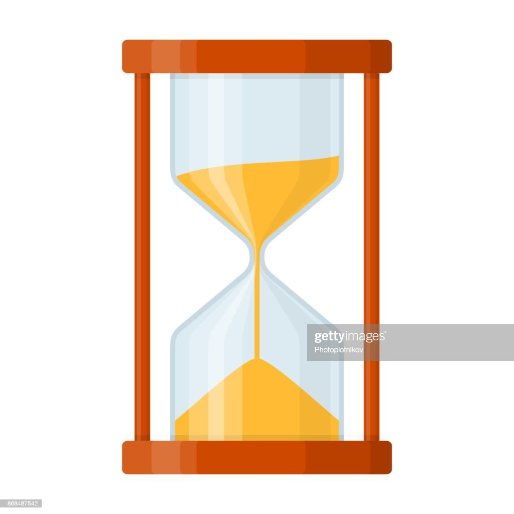 Sandglass icon isolated on white background. Time hourglass in flat style. Sandclock