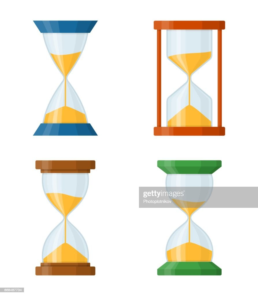 Sandglass set icons isolated on white background. Time hourglass in flat style. Sandclock set