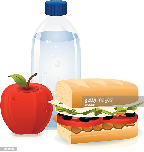 Sandwich, Bottled Water and Apple