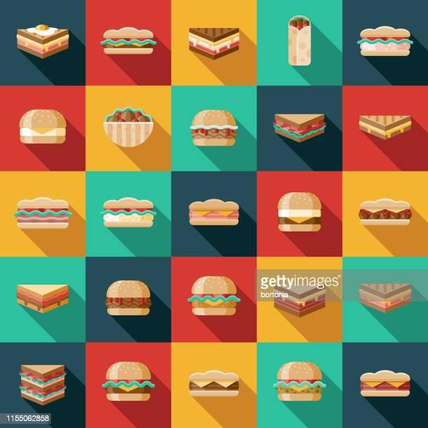 ilustrações, clipart, desenhos animados e ícones de jogo do ícone do sanduíche - sloppy joe, jr