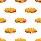 Sandwich seamless pattern, breakfast fast food. Cartoon flat style. Vector