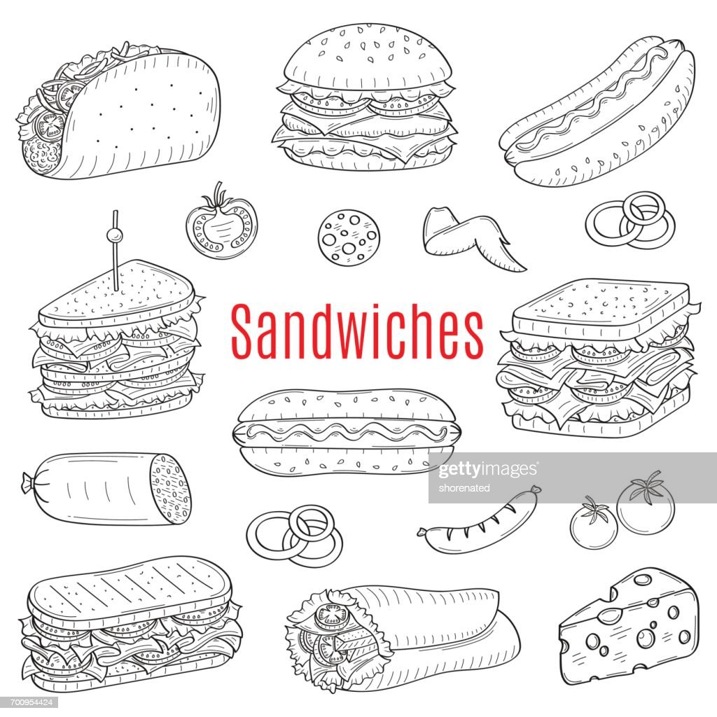 Sandwich set, vector sketch illustration