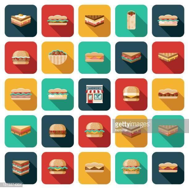 サンドイッチショップ アイコンセット - ローストビーフ点のイラスト素材/クリップアート素材/マンガ素材/アイコン素材