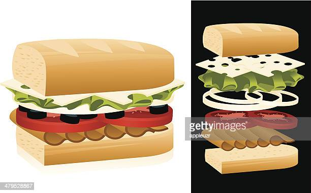 illustrations, cliparts, dessins animés et icônes de sandwich - baguette de pain
