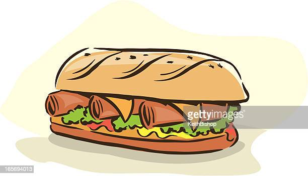 sandwich (sub or grinder) w/ meat & cheese - grinder sandwich stock illustrations