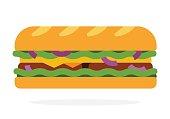 Sandwich with salad, onion, bacon